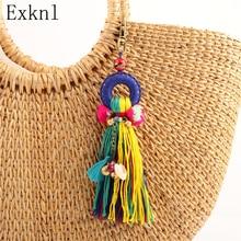 Exknl marca praia borla chaveiros pingente redondo feminino para festa saco pendurado punk vintage boho étnico estilo boêmio jewlery