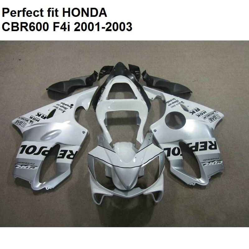 Мотоцикл обтекатель комплект для Honda белый CBR 600 F4i 01 02 03 Обтекатели CBR600 2001 2002 2003