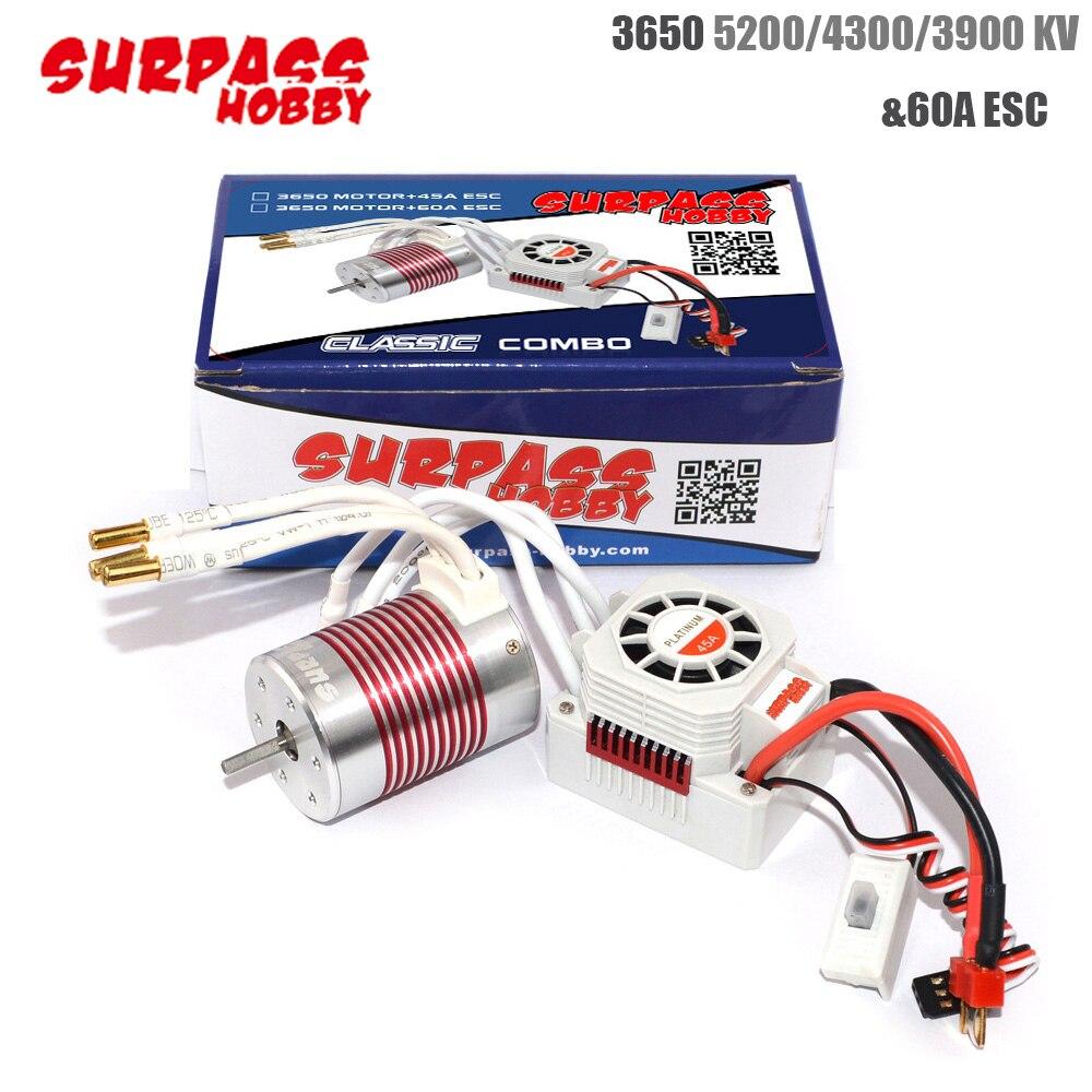 2pcs/set Platinum Waterproof 3650 4300KV 3900KV 5200KV Brushless Sensorless Motor With 60A ESC For 1/10 RC Car Truck