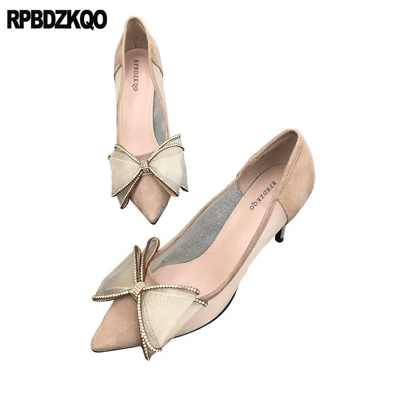 Arco tacones altos y desnudos bombas punta genial de malla de 3 pulgadas aguja diamante Kawaii Cristal de diamantes de imitación zapatos de mujer zapatos de boda