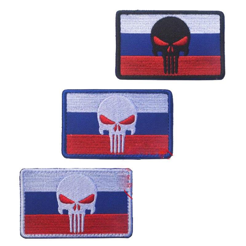 Bandeira russa punisher táticas moral exército emblema braçadeira bordado remendo decalque bordado braçadeira 8*5cm ao ar livre personalidade ac