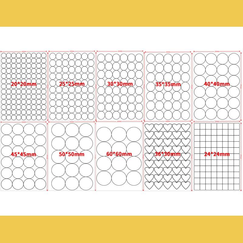 A4 Round White Glossy / Kraft Sticker Printing Label Blank Seal for Printers or Handwriting Diameter 2.5cm 3cm 4cm 6cm