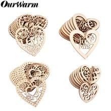 Ourwarm 10 pçs corações de madeira para casamentos enfeite corte a laser amor coração pendurado ornamento mr mrs rústico decoração de casamento