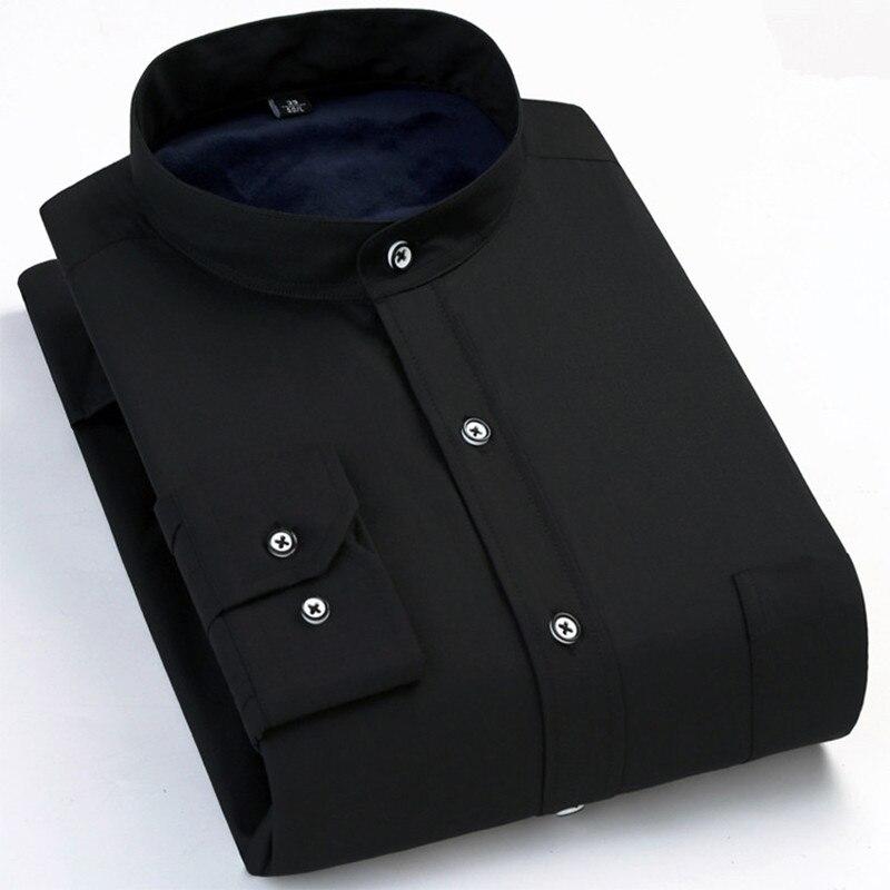 Men's shirts winter men's fashion slim comfortable shirt men's business casual warm plus velvet thick shirt