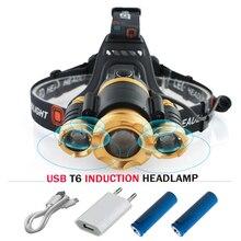 Phare LED IR capteur Induction xml t6 usb phare L2 tête torche 18650 batterie pêche minière lampe frontale hoofdlamp camping