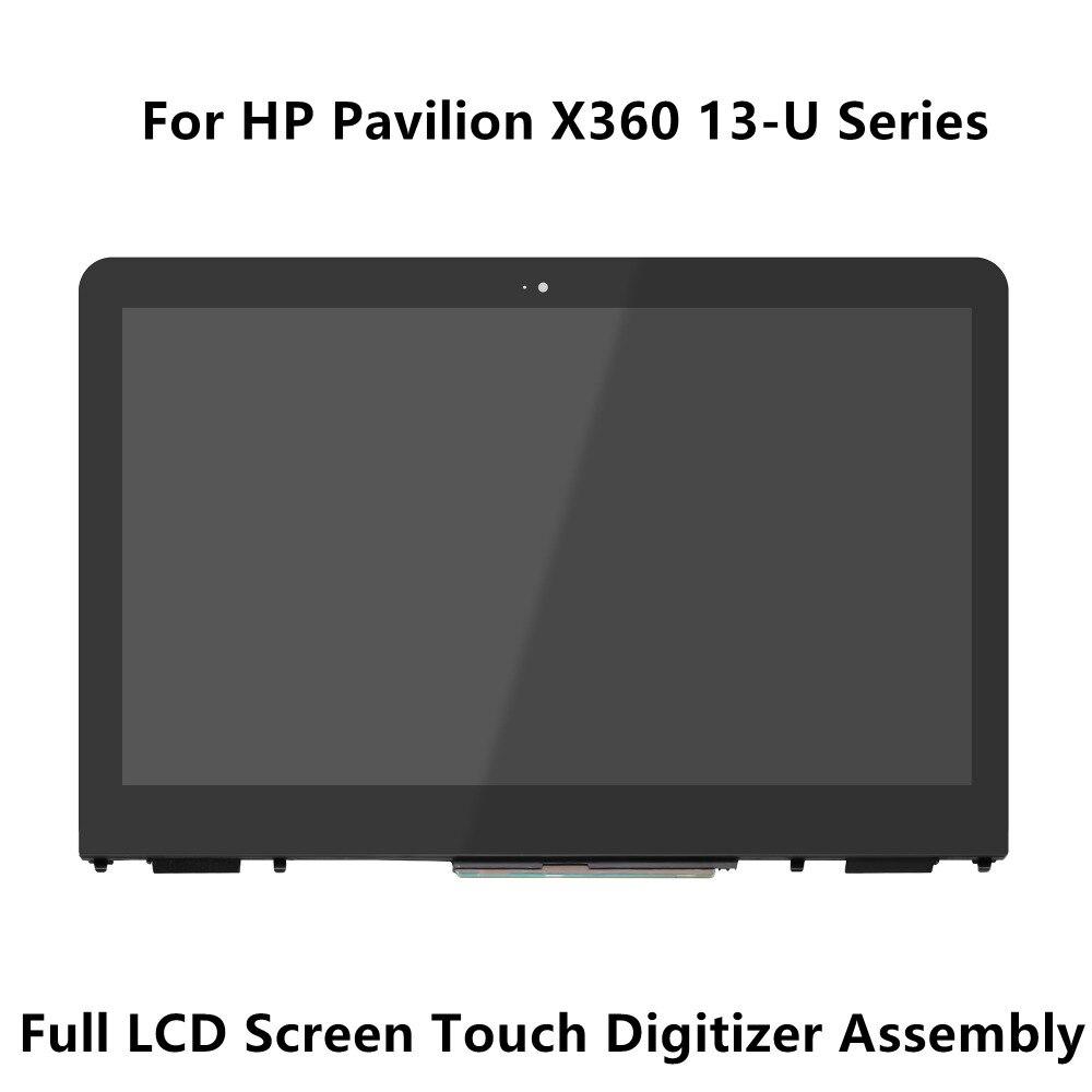 شاشة LCD تعمل باللمس مع إطار زجاجي لجهاز HP pavillon ، موديلات X360 ، 13-u104la ، 13-u164tu ، 13-u062sa ، 13-u133tu ، 1920x1080