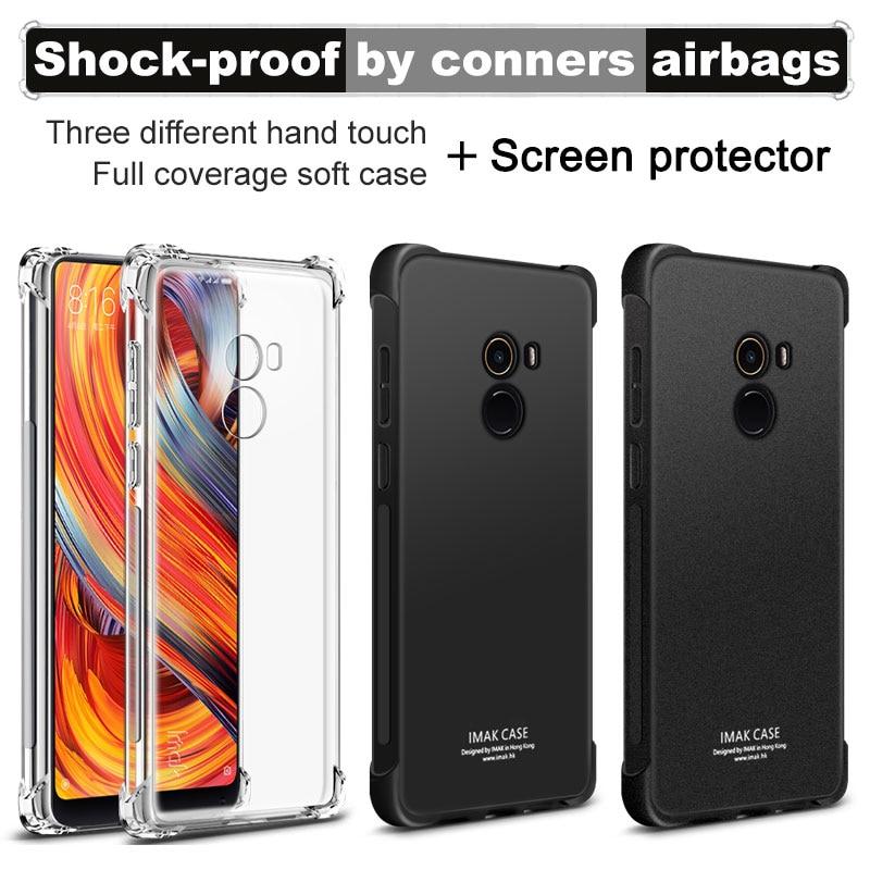 Airbag versie Voor Xiaomi Mix 2 Mix2 Case met Screen Protector IMAK Zachte TPU siliconen shell Cover mobiele telefoon gevallen