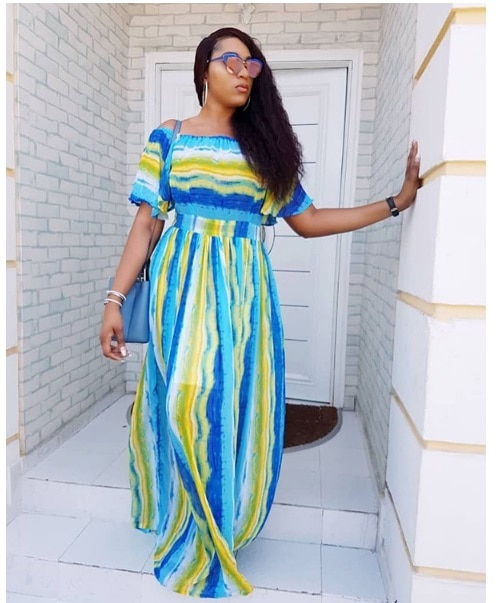European and American digital printing blue and yellow wave pattern one-neck dress H9433 Fashion ladies dress princessdress