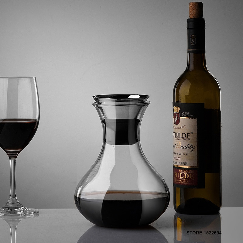 إناء نبيذ ممتاز سعة 1000 مللي نبيذ أحمر Carafe إناء نبيذ زجاجي مقوى 34 أونصة