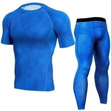 Компрессионные комплекты синего цвета с 3D эффектом, футболка для тренировок, колготки, спортивная одежда, леггинсы для тренажерных залов, MMA...