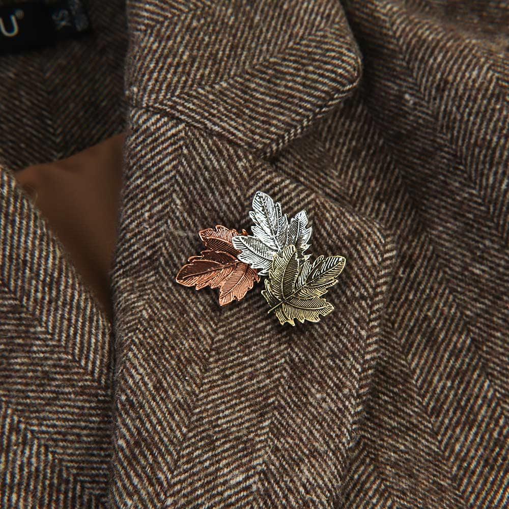 1 pieza broche de hoja de arce Metal Vintage mujer chica CharmingExquisite pin para solapa de cuello joyería de moda accesorios de ropa de fiesta