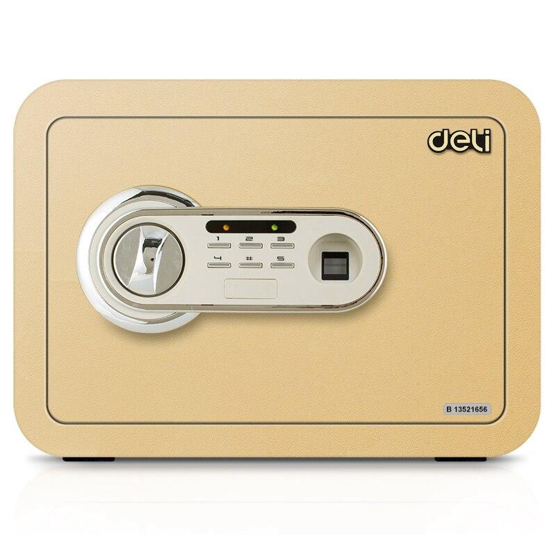 Deli 35x25x25cm mały rozmiar sejf sejf na hasło odcisk palca i elektroniczny sejf na hasło do domu bezpieczeństwo biura box