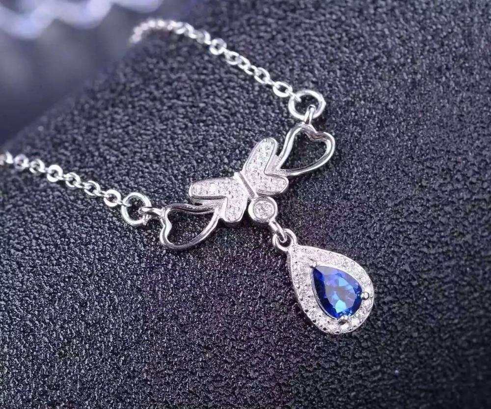 Tanzanita azul natural collar de piedra natural colgante de piedras preciosas collar de S925 de moda de plata mariposas mujer joyería