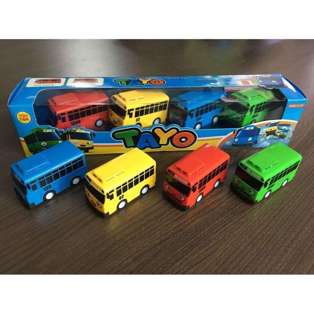 4pcs/set Small Car Korean Cartoon TAYO the Little Bus Araba Oyuncak Car Model Pull Back Toy Buses Kids Brinquedo Birthday Gift