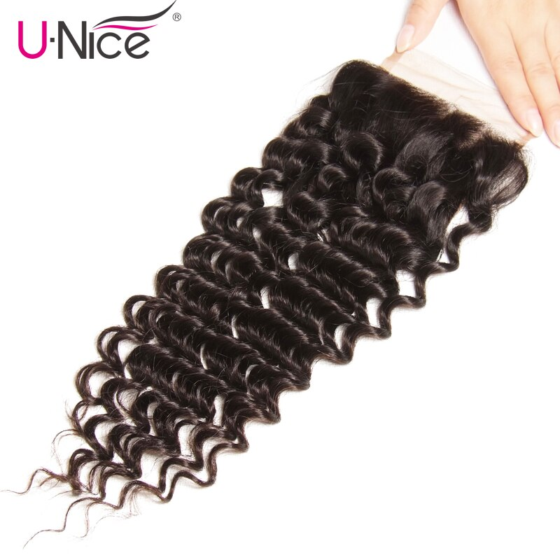Unice Hair Peruvian Deep Wave Lace Closure 1 PCS Free Part Peruvian Remy Hair Bundles 100% Human Hair Free Shipping