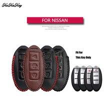 KUKAKEY-étui à clé de voiture   En cuir véritable, pour Nissan Teana Tiida Sylphy Sunny Qashqai Juke Alissa, cadeau à domicile 4S