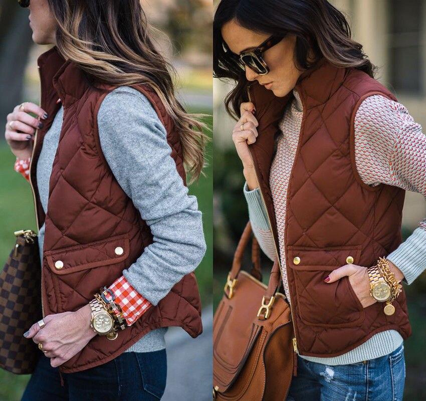 Las mujeres de invierno de corte Slim de lana de abrigo Parka chaleco abrigo sin mangas chaqueta chaleco S, M, L, XL