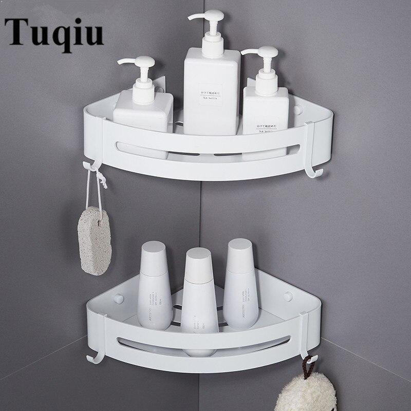 مسمار شحن ضوء الفضاء الألومنيوم رفوف الحمام الأبيض الحائط الحمام الجرف الحمام تخزين الرف سهلة لتثبيت