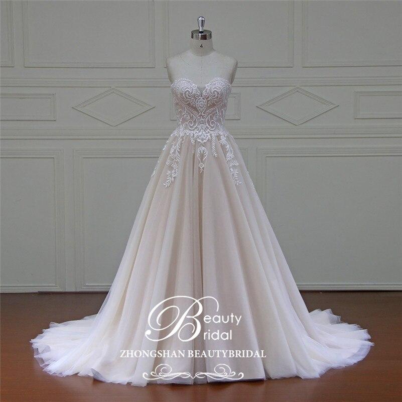 Beautybride-فستان زفاف فاخر مع ذيل ملكي مزين بالدانتيل وأكتاف عارية ، صور حقيقية 100% ، xfm042