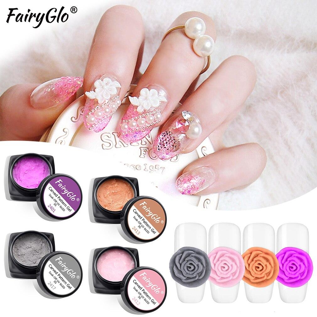 FairyGlo, 3ML, plastilina, patrón grabado, Soak Off, Gel UV, modelado, manicura DIY, escultura de Gel, laca de uñas, pegamento semipermanente