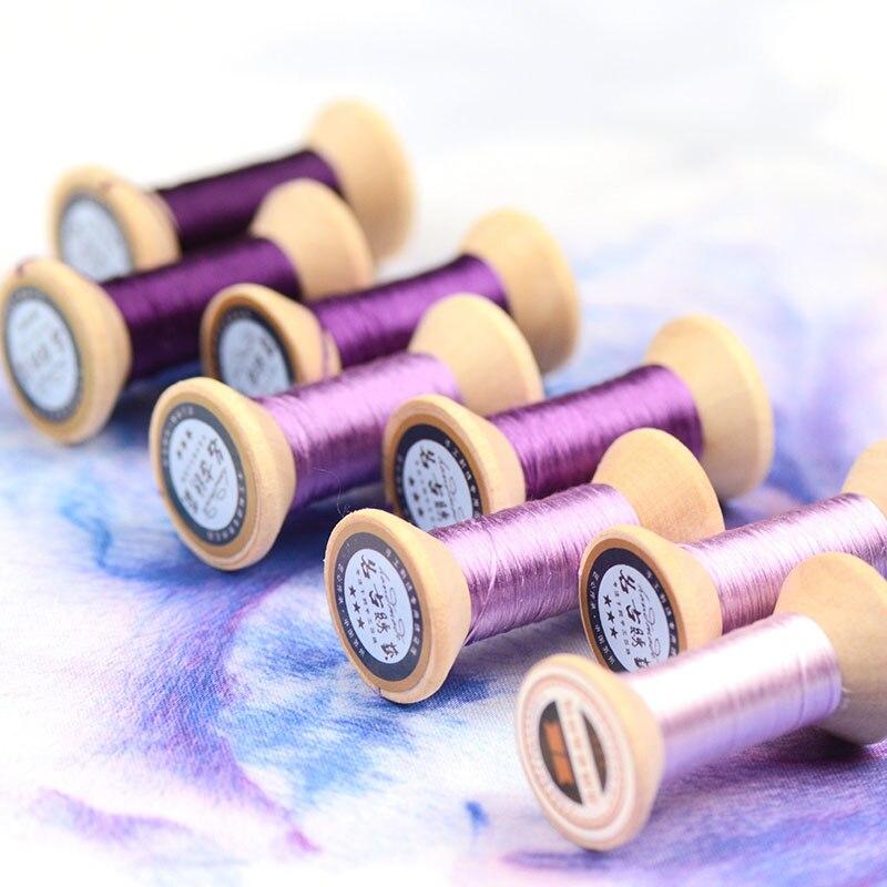 20m Lila púrpura Suzhou DIY seda de colores comunes Rama de línea Manual Spiraea hilo de bordado