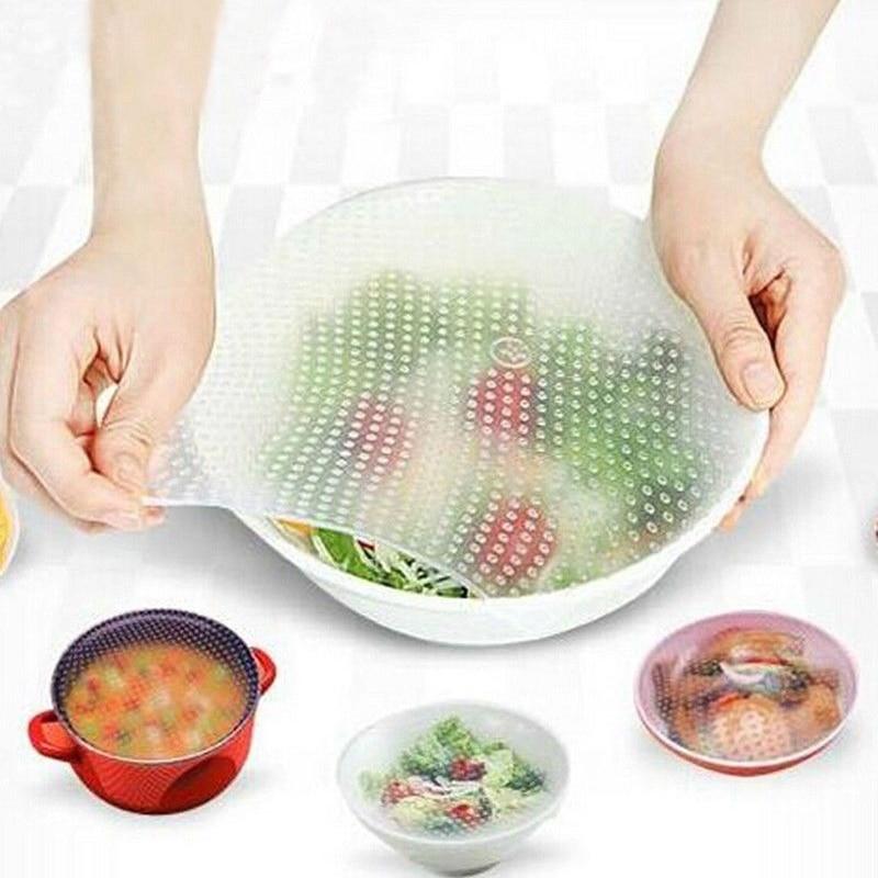 Reutilizable de silicona secreto sello cubierta Stretch Film transparente comida mantenimiento fresco tapa Stretch tazón taza de herramientas de cocina de almohadilla Accesorios