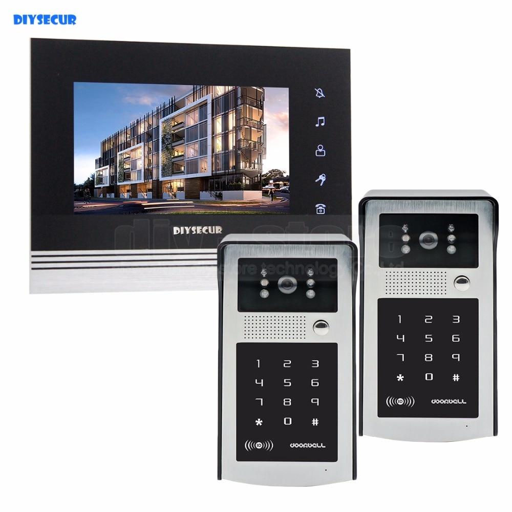 DIYSECUR botón táctil de 7 pulgadas Puerta de vídeo teléfono intercomunicador timbre IR visión nocturna HD 300000 píxeles RFID teclado Cámara 2V1