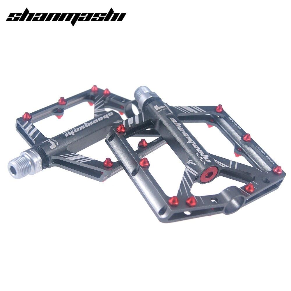 Shanmashi велосипедные педали 4 подшипники широкие Нескользящие педали mtb CNC Сверхлегкий Алюминиевый сплав педаль дорожного велосипеда Велоспо...