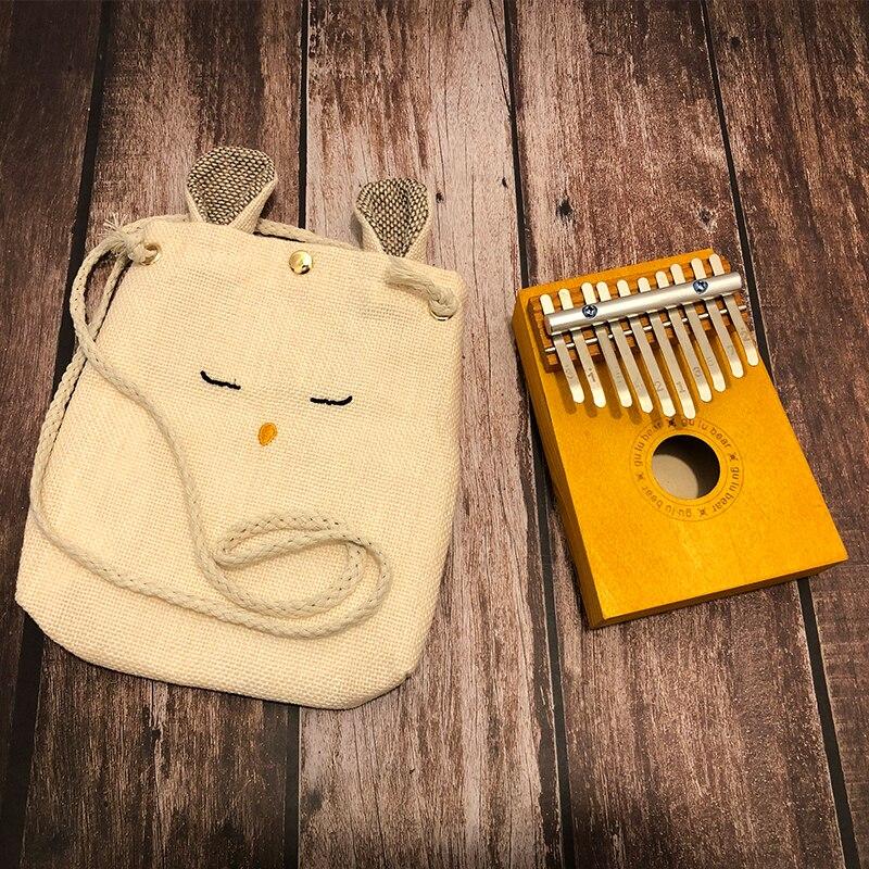 Para niño 10 teclas Kalimba pulgar de madera Piano dedo percusión de madera maciza teclado Mini Piano portátil para principiantes con bolsa