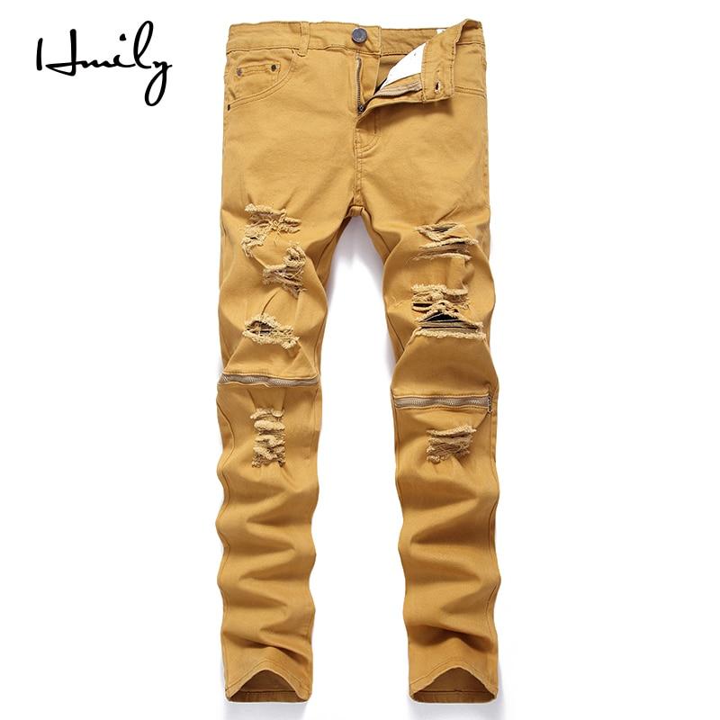 HMILY Men Skinny Jeans Ripped Fashion Biker Stretch Jeans Holes Destroyed Hip Hop Khaki Pants Knee Zipper Jeans Male