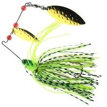 Super haute qualité Spinner appât Double réfléchissant en métal doré cuillère Buzzbait 3D poisson oeil pêche leurre crochet swisseur caoutchouc gabarit