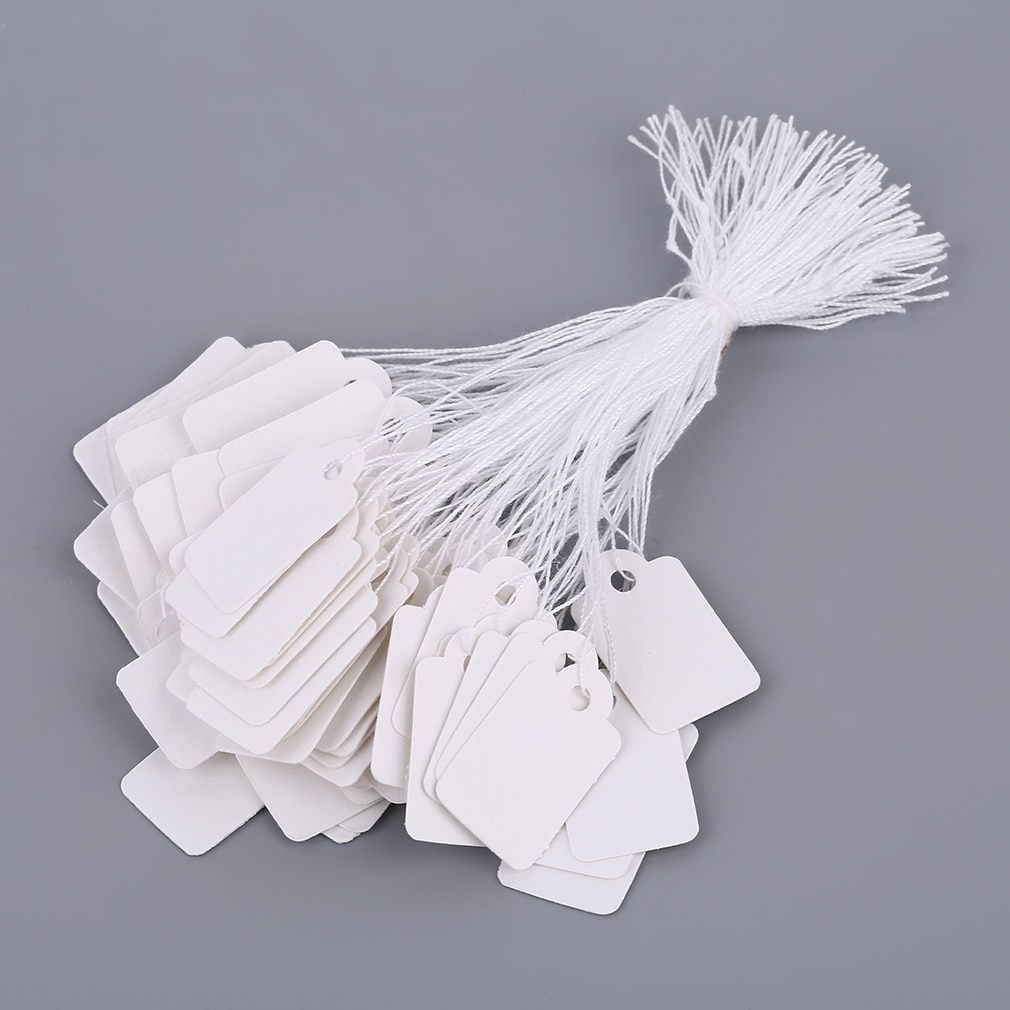 ¡Venta al por mayor! ¡Precio de plata 100 Uds! Etiquetas rectangulares blancas de cuerda para reloj, embalaje de joyería, tarjetas de exhibición, etiquetas de promoción