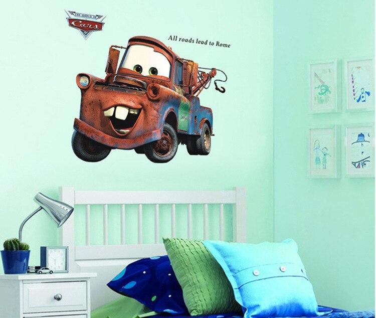 3D Broken Mater camión coche para niños dormitorio autoadhesivo niños habitación empapelado Cartoom coche póster Mural Lightning pared pegatinas