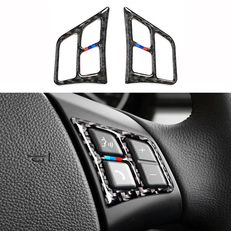 2 unids/set Interior del coche botones de volante pegatinas para BMW E90 E92 320i 318i 325i 3 Series 2005-2012 de fibra de carbono Accesorios
