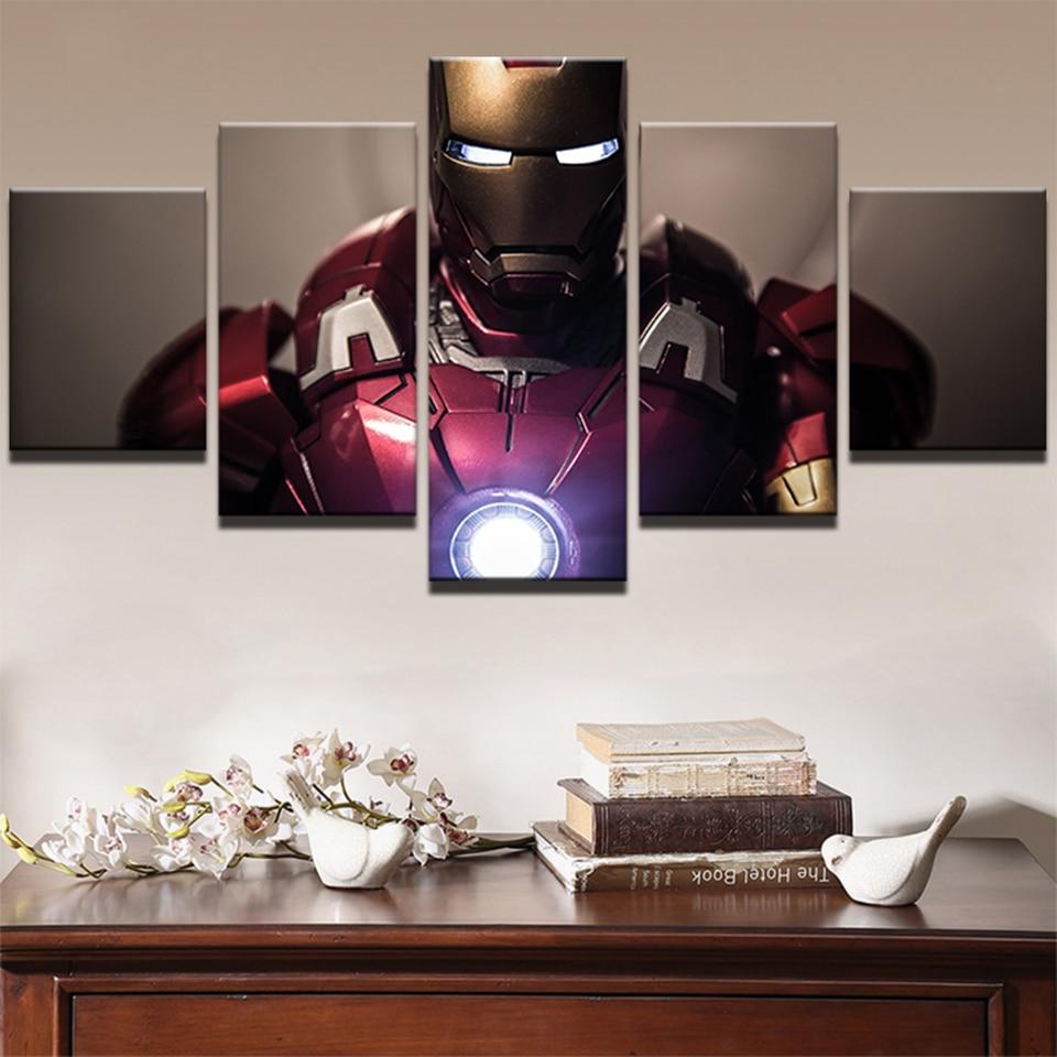 Cuadro pintura pared arte cartel impreso moderno lienzo 5 piezas superhéroe película Iron Man sala de estar hogar Decoración imágenes modulares