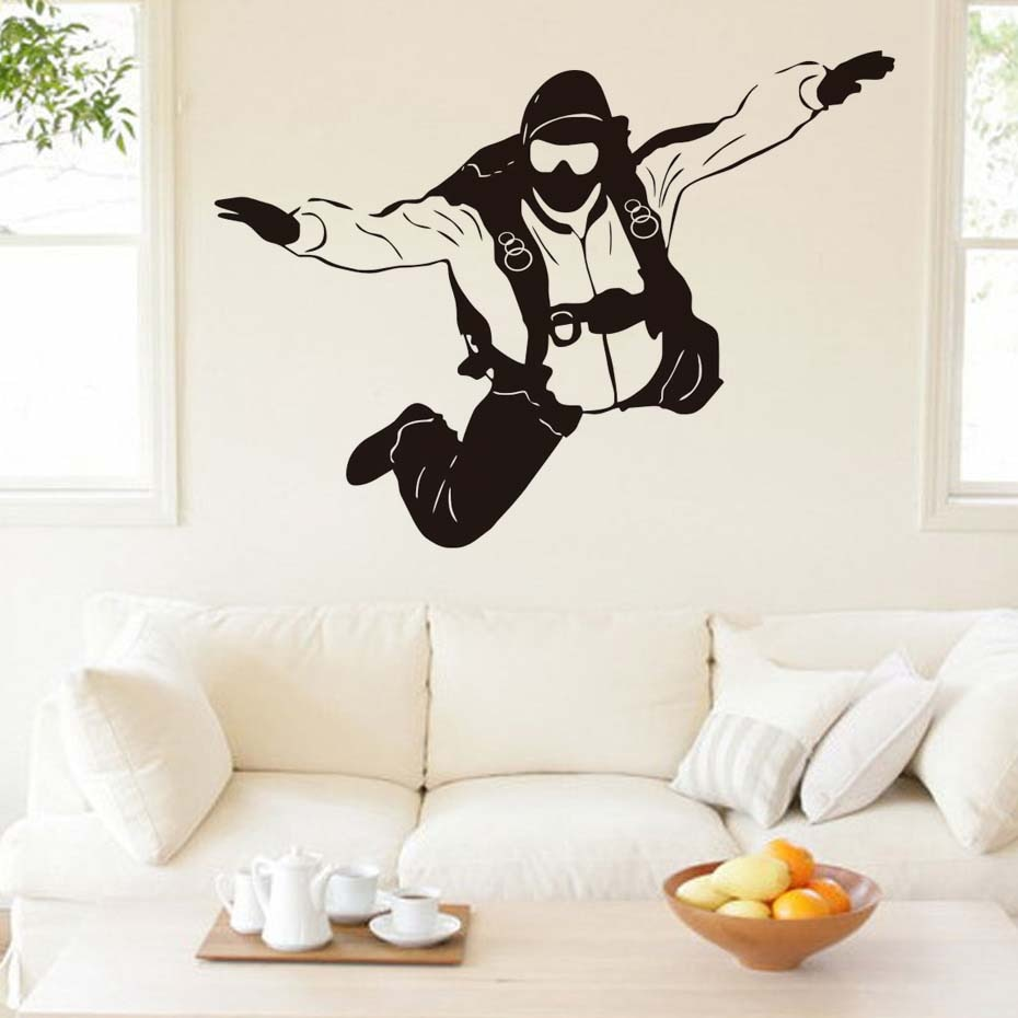 DCTOP צניחה חופשית קיצוני ספורט קיר מדבקות בית תפאורה נשלף ויניל וול מדבקת מדבקות קפיצת מצנח עצמי דבק Diy אמנות