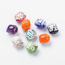 200 pièces couleur mélangée Famille Rose porcelaine à la main en porcelaine hibou perles pour la fabrication de bijoux bricolage, 17x15x13mm, trou 3mm