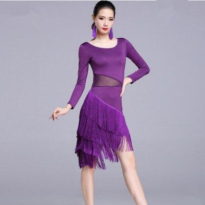 2019 New Latin Dance Costumes Sexy Senior Gauze Fringe Latin Dance Dress For Women Latin Dance Dresses Plus