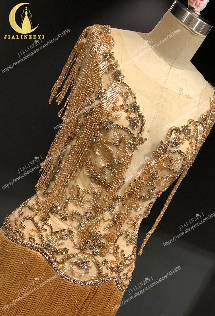 JIALINZEYI Real Image Luxurious Gold Crystal Sexy V Neck Tassel Mermaid Formal Dresses Evening Dress 2021