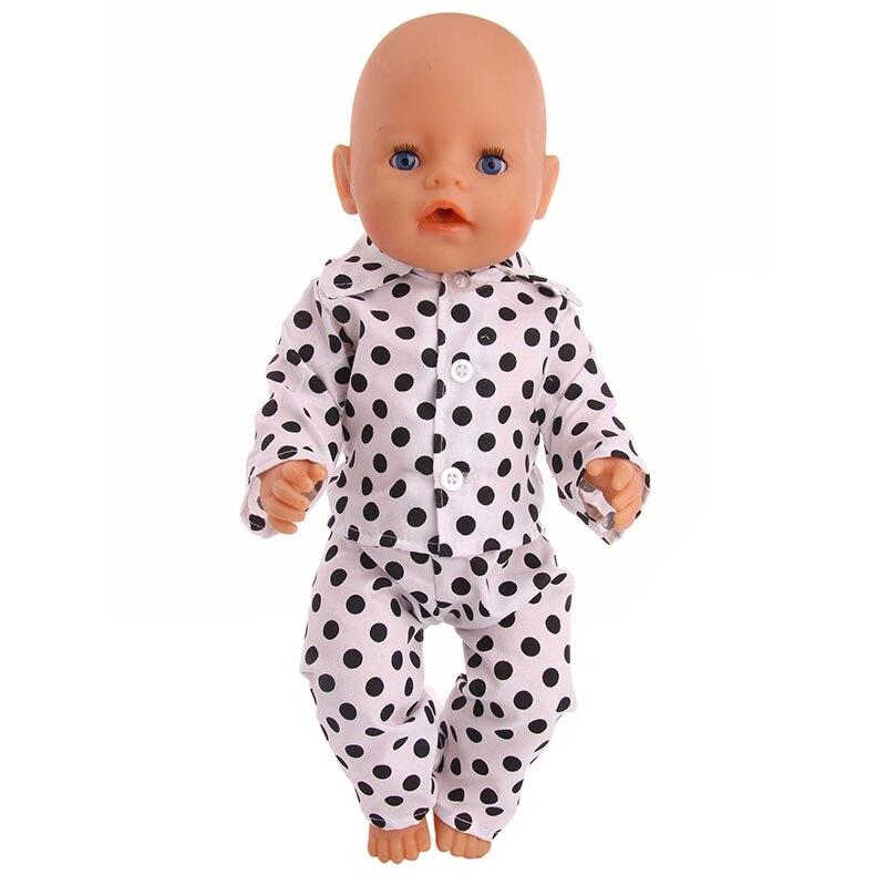 Novo estilo de alta qualidade Preto dot pattern pijamas Para 43 cm Novo Zaft melhor presente para as crianças frete grátis