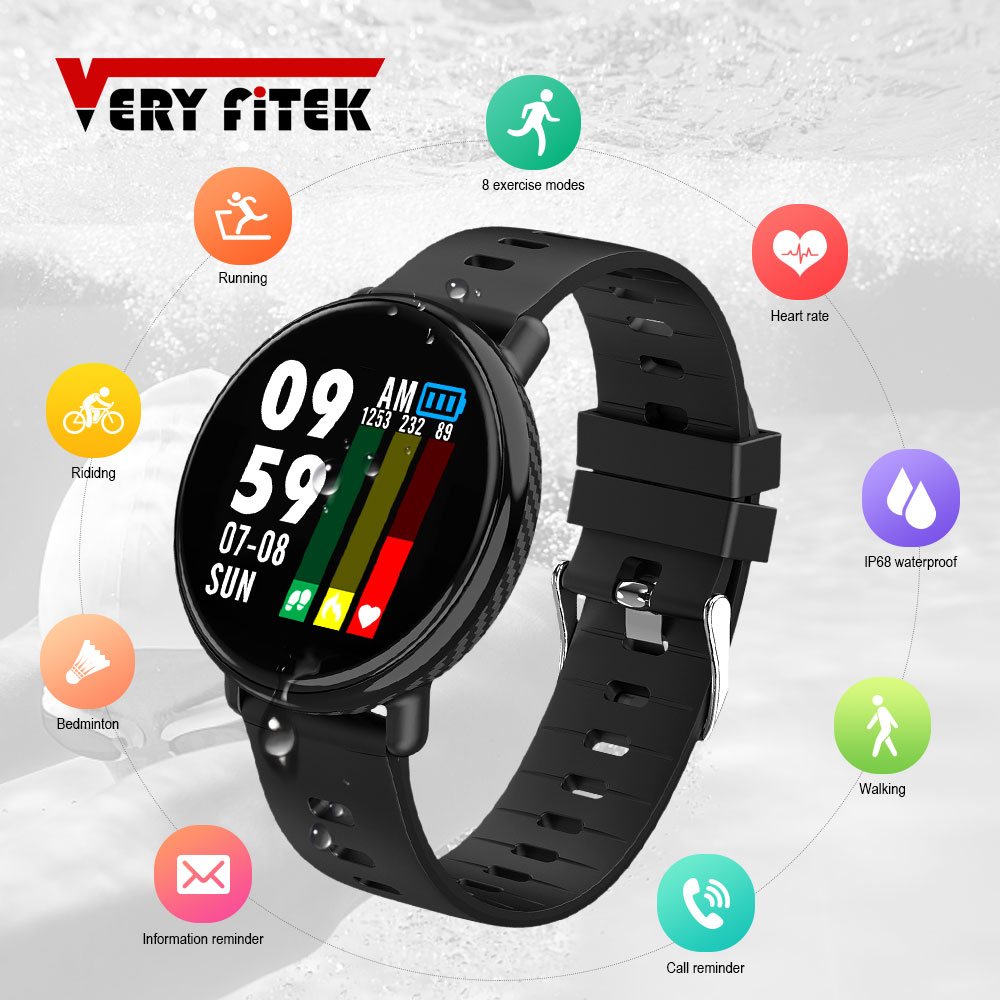 VERYFiTEK Round Smart Watch Blood Pressure Heart Rate Monitor IP68 Waterproof Fitness Bracelet Sports Watch Men Women Smartwatch