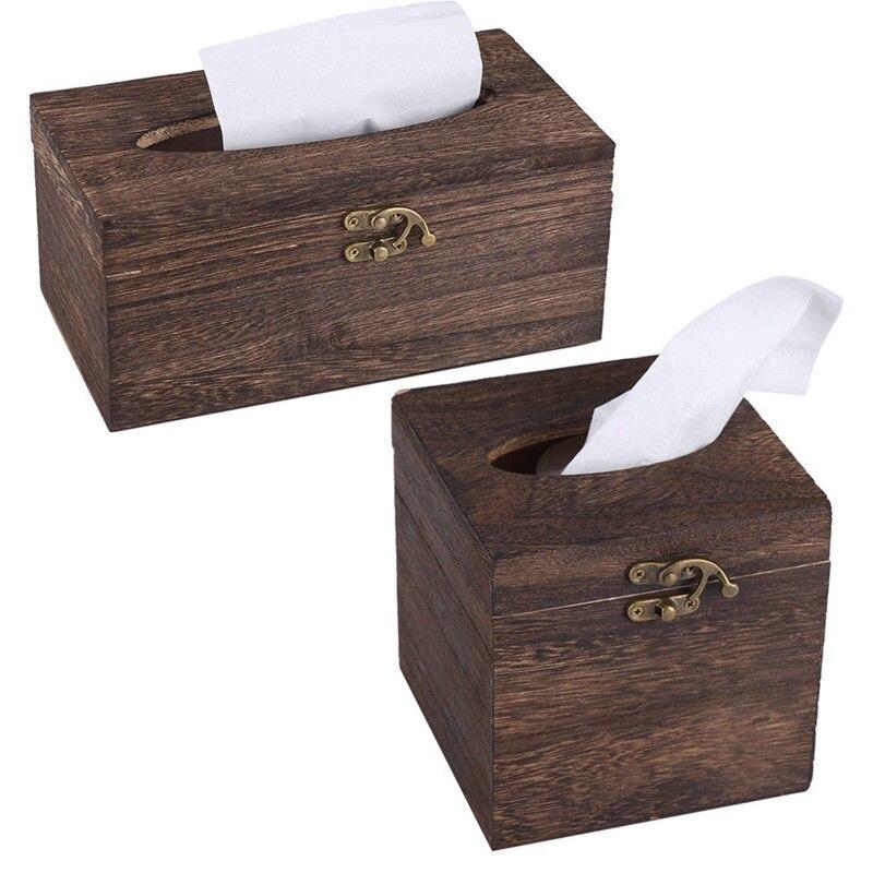 Paper Rack Wood Storage Tissue Box Car Home Rectangle Shaped Tissue Box Container Towel Napkin Tissue Dispenser Organizer Holder