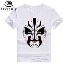 CIVI CHIC Retro Ethnic Style T Shirt Women Face Painting of Sichuan Peking Opera Tops 3D Facebook Printing Men Loose Tees WST142