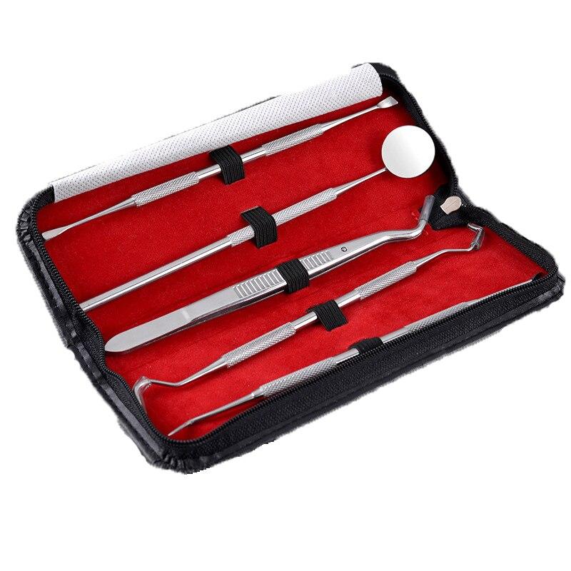 5pc Dental Tool Set Stainless Steel Tooth Scraper Wax Carving Dentist Tool Kit Explorer Probe Picks Mirror Teeth Clean Oral Care