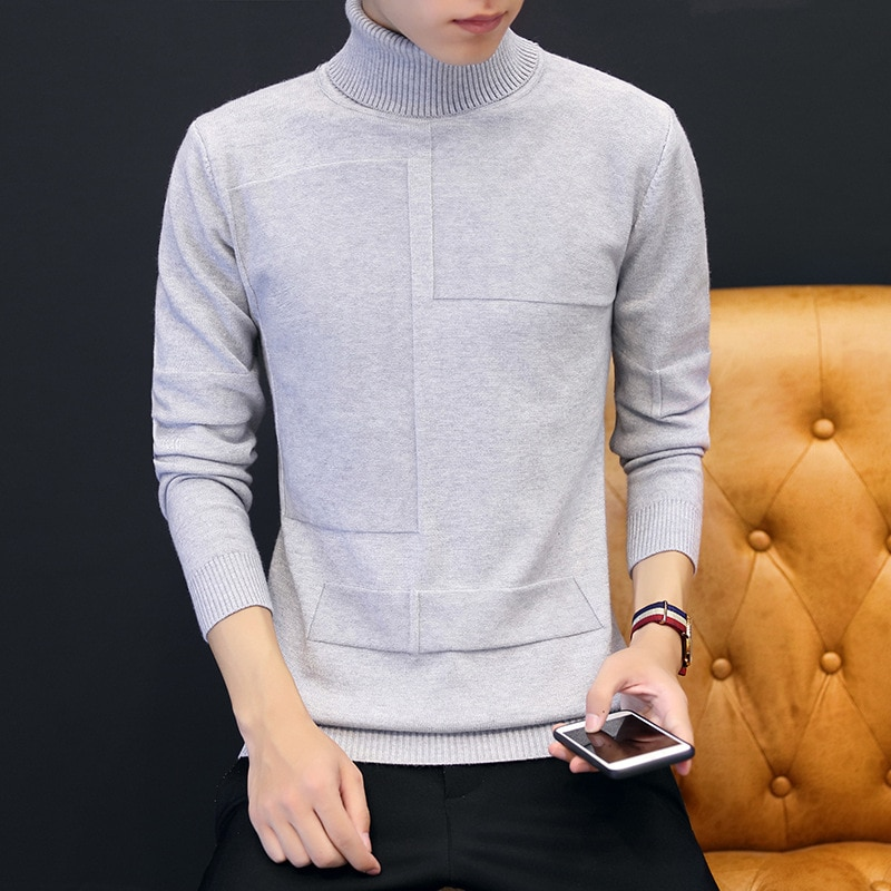 Black Sweater Turtleneck Clothes Classic Sweater Men Simplicity Pullover Sweater Men Solid Long Sleeves Grey Black Mens Sweaters black one shoulder long sleeves loose sweaters