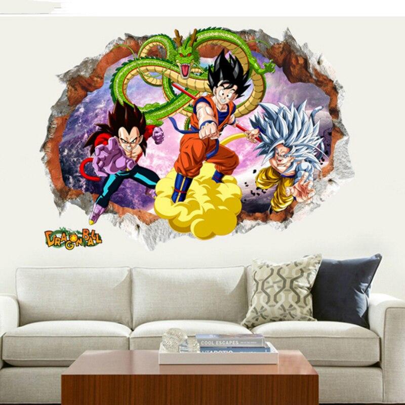 50*70cm dibujo animados Dragon Ball pegatinas de personajes de gran tamaño Bola de Dragón PVC Z Goku Vegeta papel Super pegatinas Saiyan ST01