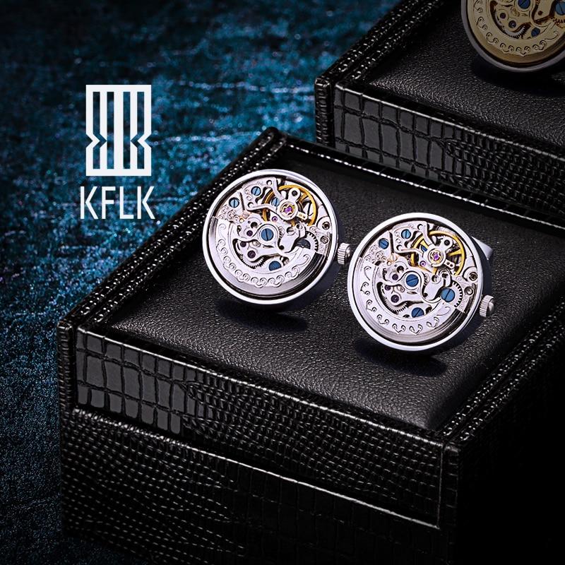 KFLK مجوهرات قمصان أزرار أكمام للرجال ماركة الفضة حركة الميكانيكية أزرار أكمام كبيرة أزرار الذكور عالية الجودة الضيوف