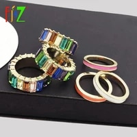 f j4z fashion designer luxury finger ring for women imitation colorful crystal rings jewelry anillos de mujeres