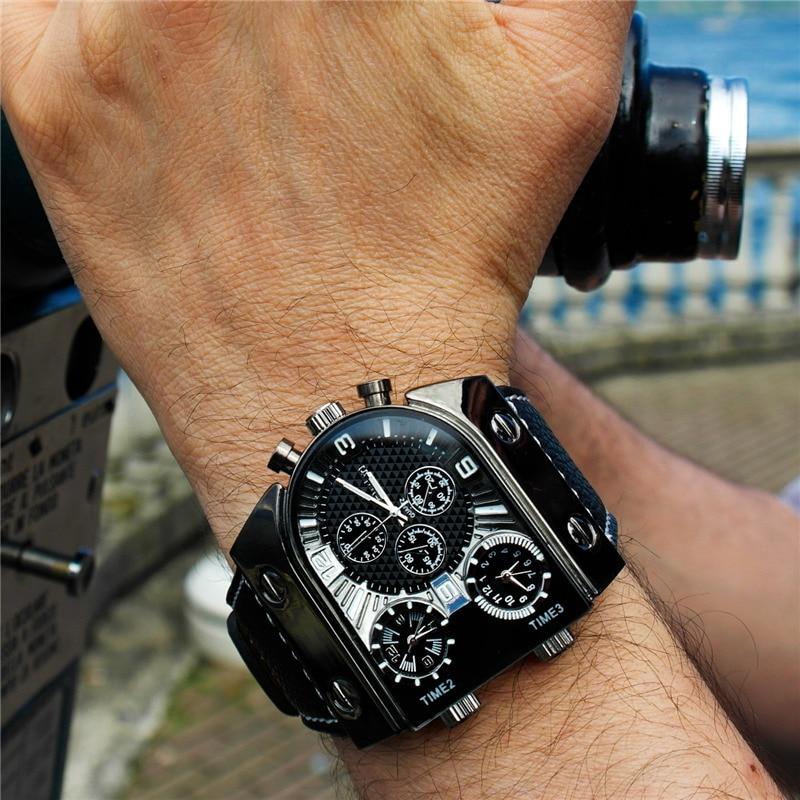 Oulm, tres zonas horarias, relojes para viajar al extranjero, informal, clásico, negro, reloj de cuarzo único, reloj de pulsera deportivo para hombre
