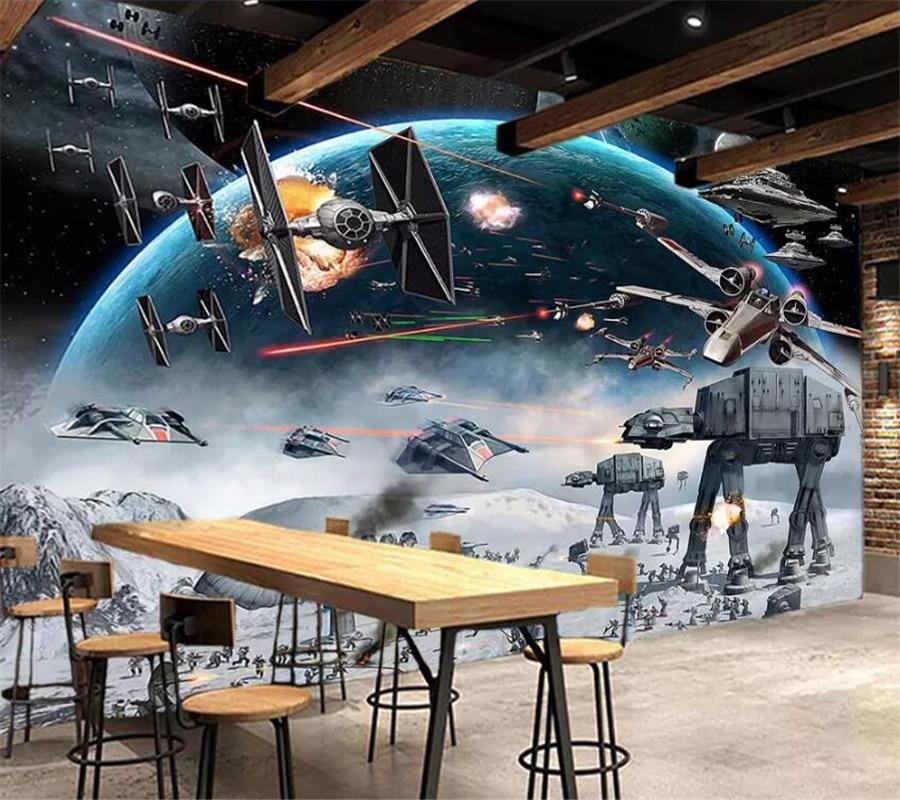 Papel pintado personalizado beibehang, mural fotográfico a gran escala 3d shock Star Wars KTV Internet Tema de cafetería, papel pintado, papel de pared